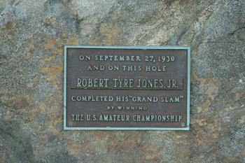 ARDMORE, PA - SEPTEMBER 22: A commerorative stone on the par 4, 12th hole tee that marks the hole on which Bobby Jones completed his Grand Slam in 1930 by winning the US Amateur on the East Course at Merion Golf Club, on September 22, 2005 in Ardmore, Pen