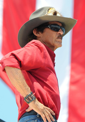 LONG POND, PA - JUNE 10:  Hall of Famer and team owner Richard Petty looks on from the top of the hauler during practice for the NASCAR Sprint Cup Series 5-Hour Energy 500 at Pocono Raceway on June 10, 2011 in Long Pond, Pennsylvania.  (Photo by John Harr