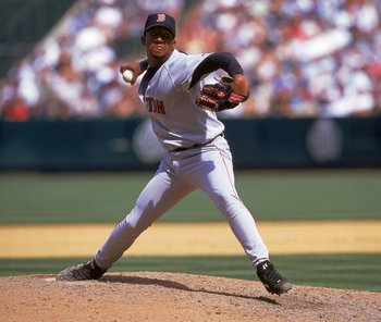 9 Apr 2000: Pedro Martinez #45 of the Boston Red Sox winds back to pitch the ball during a game against the Anaheim Angels at the Edison Field in Anaheim, California. The Red Sox defeated the Angels 5-2.