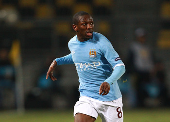 THESSALONIKI, GREECE - FEBRUARY 15:  Shaun Wright-Phillips of Manchester City in action during the first leg round of 32 Europa League match between Aris Saloniki and Manchester City  at Kleanthis Vikelidis stadium on February 15, 2011 in Thessaloniki, Gr
