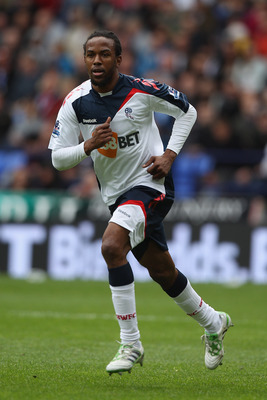 BOLTON, ENGLAND - MAY 22: Ricardo Gardner of Bolton Wanderers in action during the Barclays Premier League match between  Bolton Wanderers and Manchester City at the Reebok Stadium on May 22, 2011 in Bolton, England.  (Photo by Michael Steele/Getty Images