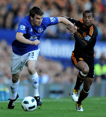 LIVERPOOL, ENGLAND - MAY 22:   Ashley Cole of Chelsea competes with Seamus Coleman of Everton during the Barclays Premier League match between Everton and Chelsea at Goodison Park on May 22, 2011 in Liverpool, England.  (Photo by Chris Brunskill/Getty Ima