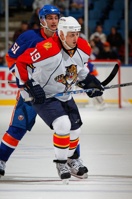 UNIONDALE, NY - NOVEMBER 20:  Marty Reasoner #19 of the Florida Panthers skates during a hockey game against the New York Islanders at the Nassau Coliseum on November 20, 2010 in Uniondale, New York.  (Photo by Paul Bereswill/Getty Images)