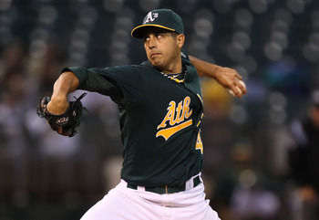 OAKLAND, CA - JUNE 28:  Gio Gonzalez #47 of the Oakland Athletics pitches against the Florida Marlins at the Oakland-Alameda County Coliseum on June 28, 2011 in Oakland, California.  (Photo by Jed Jacobsohn/Getty Images)