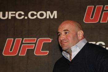 NEW YORK, NY - JANUARY 13:  Dana White, UFC President looks on during a press conference to announce commitment to bring UFC to Madison Square Garden and New York State at Madison Square Garden on January 13, 2011 in New York City.  (Photo by Michael Cohe