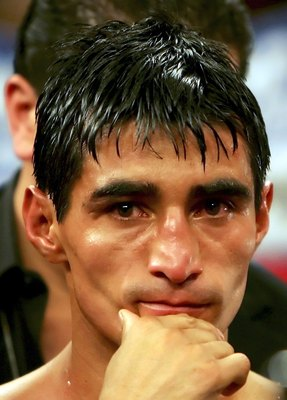 LAS VEGAS - NOVEMBER 18:  Erik Morales of Mexico waits to be interviewed after his super featherweight bout against Manny Pacquiao of the Philippines at the Thomas & Mack Center on November 18, 2006 in Las Vegas, Nevada. Pacquaio knocked out Morales in th