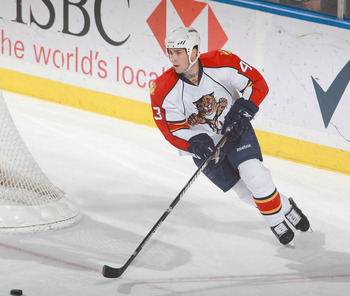 BUFFALO, NY - DECEMBER 23: Mike Weaver #43 of the Florida Panthers skates against the Buffalo Sabres  at HSBC Arena on December 23, 2010 in Buffalo, New York. Florida won 4-3.  (Photo by Rick Stewart/Getty Images)