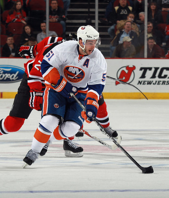 NEWARK, NJ - MARCH 30:  Frans Nielsen #51 of the New York Islanders skates against the New Jersey Devils at the Prudential Center on March 30, 2011 in Newark, New Jersey. The Devils defeated the Islanders 3-2.  (Photo by Bruce Bennett/Getty Images)