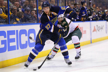 ST. LOUIS, MO - MARCH 29: Alex Pietrangelo #27 of the St. Louis Blues looks to pass the puck against the Minnesota Wild at the Scottrade Center on March 29, 2011 in St. Louis, Missouri.  (Photo by Dilip Vishwanat/Getty Images)