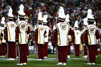 TAMPA, FL - FEBRUARY 01:  The Bethune-Cookman University band performs during the pre-game show prior to the start of Super Bowl XLIII between the Arizona Cardinals and the Pittsburgh Steelers on February 1, 2009 at Raymond James Stadium in Tampa, Florida