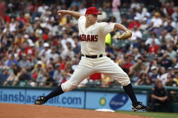 CLEVELAND, OH - JUNE 19:  Justin Masterson #63 of the Cleveland Indians pitches against the Pittsburgh Pirates during their game on June 19, 2011 at Progressive Field in Cleveland, Ohio.  The Indians defeated the Pirates 5-2 in 11 innings.  (Photo by Davi