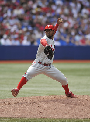 TORONTO, CANADA - JULY 1: Antonio Bastardo #58 of the Philadelphia Phillies delivers a pitch during MLB interleague game action against the Toronto Blue Jays July 1, 2011 at Rogers Centre in Toronto, Ontario, Canada. (Photo by Brad White/Getty Images)