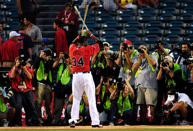 ANAHEIM, CA - JULY 12:  American League All-Star David Ortiz #34 of the Boston Red Sox winner of the 2010 State Farm Home Run Derby during All-Star Weekend at Angel Stadium of Anaheim on July 12, 2010 in Anaheim, California.  (Photo by Jeff Gross/Getty Im