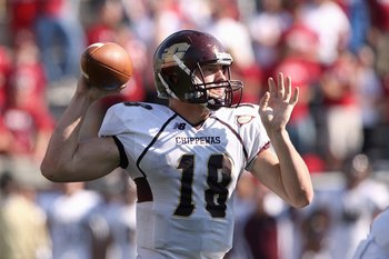 BLOOMINGTON, IN - NOVEMBER 01:  Quarterback Brian Brunner #18 of the Central Michigan Chippewas passes the ball during the game against the Indiana Hooisers at Memorial Stadium on November 1, 2008 in Bloomington, Indiana.  (Photo by Andy Lyons/Getty Image