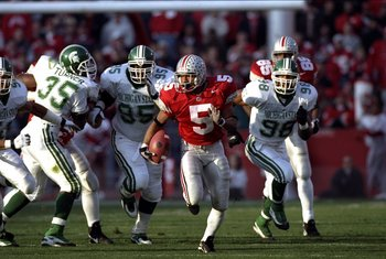 7 Nov 1998:  Running back Michael Wiley #5 of the Ohio State Buckeyes runs with the ball during a game against the Michigan State Spartans at the Ohio Stadium in Columbus, Ohio. The Spartans defeated the Buckeyes 28-24. Mandatory Credit: Rick Stewart  /Al