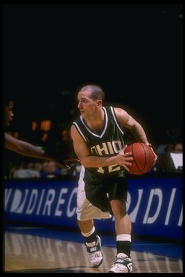 14 Dec 1996:  Guard Geno Ford of the Ohio Bobcats moves the ball during a game against the UCLA Bruins at Pauley Pavilion in Los Angeles, California.  UCLA won the game, 72-61. Mandatory Credit: David Taylor  /Allsport