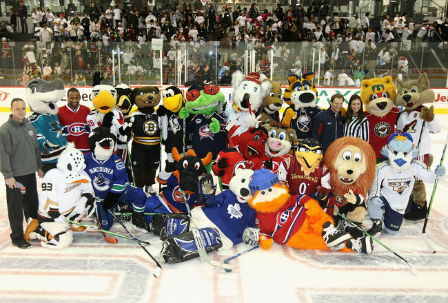 MONTREAL - JANUARY 25:  NHL mascots pose together for a group photo during the NHL All Star Mascot Breakfast at the Bell Centre Sports Complex on January 25, 2009 in Montreal, Canada.  (Photo by Nick Laham/Getty Images)