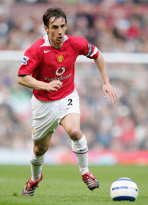 MANCHESTER, UNITED KINGDOM - MAY 07:  Gary Neville of Manchester United in action during the Barclays Premiership match between Manchester United and Charlton Athletic at Old Trafford on May 7, 2006  in Manchester, England.   (Photo by Laurence Griffiths/