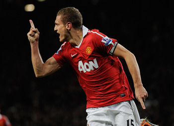 MANCHESTER, ENGLAND - OCTOBER 30:  Nemanja Vidic of Manchester United celebrates scoring to make it 1-0 during the Barclays Premier League match between Manchester United and Tottenham Hotspur at Old Trafford on October 30, 2010 in Manchester, England.  (