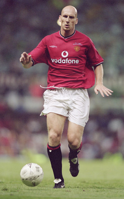 1 Aug 2001:  Jaap Stam of Manchester United in action during the Ryan Giggs Testimonial Match against Celtic played at Old Trafford in Manchester, England.  Celtic won the match 4 - 3. Mandatory Credit: Gary M. Prior/Allsport