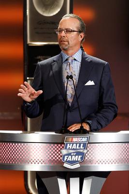 CHARLOTTE, NC - MAY 23:  Kyle Petty speaks on stage during the 2011 NASCAR Hall of Fame induction ceremonies at the Charlotte Convention Center on May 23, 2011 in Charlotte, North Carolina.  (Photo by John Harrelson/Getty Images for NASCAR)