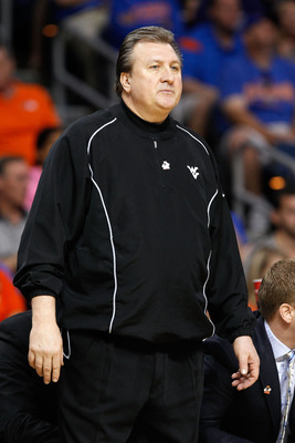 TAMPA, FL - MARCH 19:  Head coach Bob Huggins of the West Virginia Mountaineers looks on against the Kentucky Wildcats during the third round of the 2011 NCAA men's basketball tournament at St. Pete Times Forum on March 19, 2011 in Tampa, Florida. Kentuck