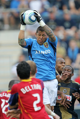 CHESTER, PA - JUNE 11: Goalkeeper Nick Rimando #18 of Real Salt Lake makes a save during a game against Philadelphia Union at PPL Park on June 11, 2011 in Chester, Pennsylvania. The game ended 1-1. (Photo by Hunter Martin/Getty Images)