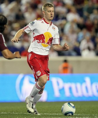 HARRISON, NJ - MAY 25:  Tim Ream #5 of the New York Red Bulls controls the ball against the Colorado Rapids at Red Bull Arena on May 25, 2011 in Harrison, New Jersey. The game ended in a 2-2 draw.  (Photo by Jim McIsaac/Getty Images)