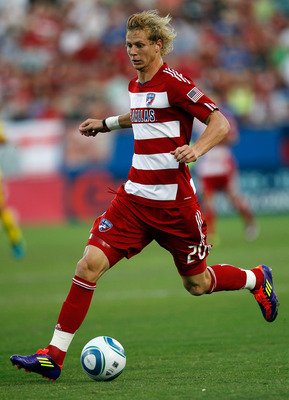 FRISCO, TX - JULY 02:  Brek Shea #20 of the FC Dallas moves the ball against the Columbus Crew at Pizza Hut Park on July 2, 2011 in Frisco, Texas. FC Dallas beat the Columbus Crew 2-0.  (Photo by Tom Pennington/Getty Images)