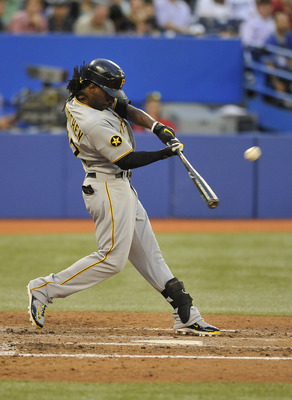 TORONTO, CANADA - JUNE 30:  Andrew McCutchen #22 of the Pittsburgh Pirates bats during MLB interleague game action against the Toronto Blue Jays June 30, 2011 at Rogers Centre in Toronto, Ontario, Canada. (Photo by Brad White/Getty Images)
