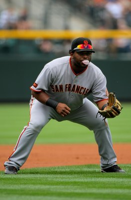 DENVER - AUGUST 23:  Third baseman Pablo Sandoval #48 of the San Francisco Giants blows a bubble as he plays defense against the Colorado Rockies at Coors Field on August 23, 2009 in Denver, Colorado. The Rockies defeated the Giants 4-2.  (Photo by Doug P