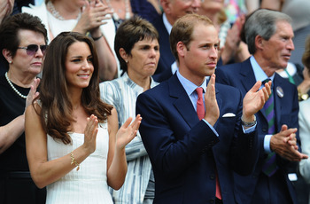 LONDON, ENGLAND - JUNE 27:  Billie Jean King, Catherine, Duchess of Cambridge and Prince William, Duke of Cambridge attend the fourth round match between  Andy Murray of Great Britain and  Richard Gasquet of France on Day Seven of the Wimbledon Lawn Tenni