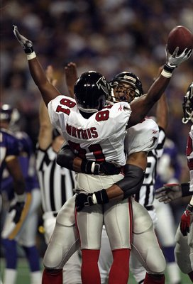 17 Jan 1999: Terance Mathis #81 of the Atlanta Falcons celebrates during the NFC Championship Game against the Minnesota Vikings at the H. H. H. Metrodome in Minneapolis, Minnesota. The Falcons defeated the Vikings 30-27. Mandatory Credit: Andy Lyons  /Al