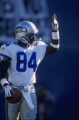 9 Nov 1997: Joey Galloway #84 of the Seattle Seahawks in action during a game against the San Diego Chargers at the Qualcomm Stadium in San Diego, California. The Seahawks defeated the Chargers 37-31.