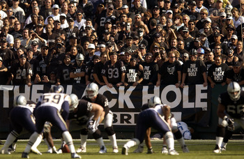 Raider Fans in the 'Black Hole' look on during the second half of the Raiders overtime loss to the San Diego Chargers. Chargers 27, Raiders 21 (OT). (Photo by Steve Grayson/Getty Images)