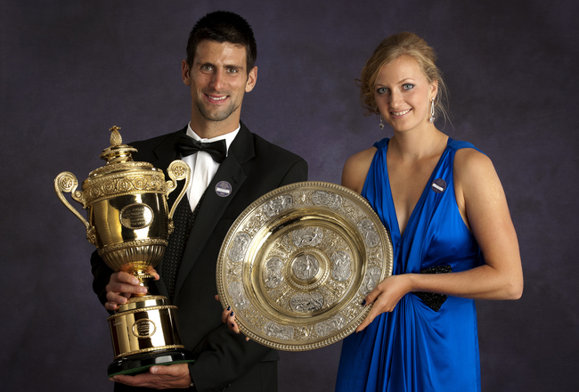 LONDON - JULY 03: The Official Portrait of Wimbledon winners Novak Djokovic of Serbia and Petra Kvitova of the Czech Republic at The Wimbledon Champions' Dinner 2011, at the InterContinental Hotel Park Lane on July 03, 2011in London, England. (Photo by To