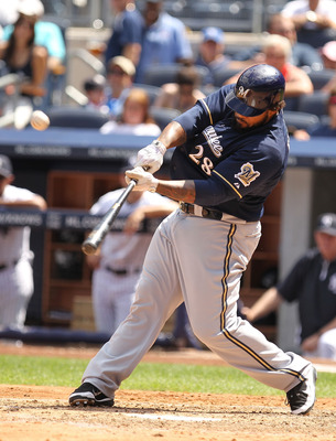NEW YORK, NY - JUNE 30:  Prince Fielder #28 of the Milwaukee Brewers flies out against the New York Yankees on June 30, 2011 at Yankee Stadium in the Bronx borough of New York City.  (Photo by Al Bello/Getty Images)