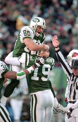 7 Nov 1999: Wayne Chrebet #80 of the New York Jets celebrates with Keyshawn Johnson #19 after his touchdown during a game against the Arizona Cardinals at Giants Stadium in East Rutherford, New Jersey. The Jets defeated the Cardinals 12-7.