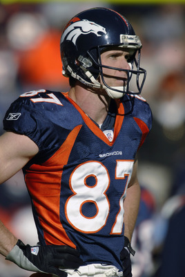 DENVER - DECEMBER 29:  Wide receiver Ed McCaffrey #87 of the Denver Broncos stands on the field during the game against the Arizona Cardinals at Invesco Field at Mile High on December 29, 2002 in Denver, Colorado.  The Broncos won 37-7.  (Photo by Brian B