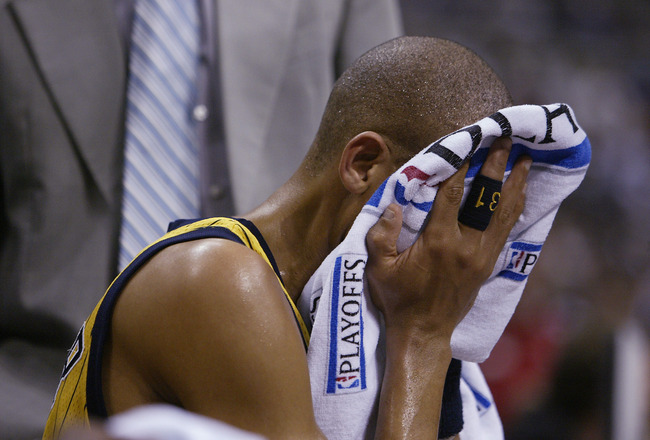 AUBURN HILLS, MI - MAY 9:  Reggie Miller #31 of the Indiana Pacers sits on the bench late in the second half against the Detroit Pistons in Game one of the Eastern Conference Semifinals during the 2005 NBA Playoffs at The Palace of Auburn Hills on May 9,
