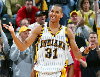 INDIANAPOLIS - APRIL 30: Reggie Miller #31 of the Indiana Pacers reacts to a foul called in Game four of the Western Conference Quarterfinals during the 2005 NBA Playoffs at Conseco Field House on April 30, 2005 in Indianapolis, Indiana. The Celtics defea