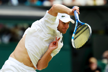 LONDON, ENGLAND - JUNE 24:  Andy Roddick of the United States in action during his third round match against Feliciano Lopez of Spain on Day Five of the Wimbledon Lawn Tennis Championships at the All England Lawn Tennis and Croquet Club on June 24, 2011 i