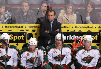 GLENDALE, AZ - DECEMBER 09:  Head coach Todd Richards of the Minnesota Wild during the NHL game against the Phoenix Coyotes at Jobing.com Arena on December 9, 2010 in Glendale, Arizona.  The Wild defeated the Coyotes 3-2.  (Photo by Christian Petersen/Get