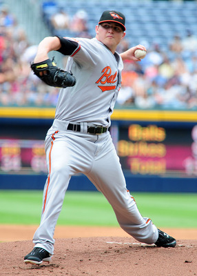 ATLANTA - JULY 3: Zach Britton #53 of the Baltimore Orioles pitches against the Atlanta Braves at Turner Field on July 3, 2011 in Atlanta, Georgia. (Photo by Scott Cunningham/Getty Images)