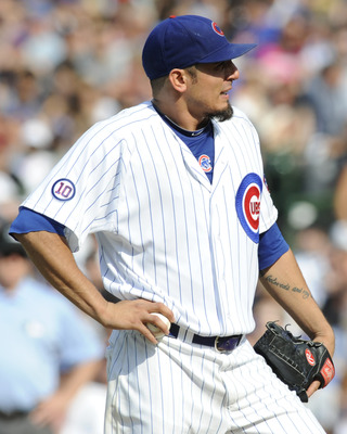 CHICAGO, IL - JULY 02: Matt Garza  # 17 of the Chicago Cubs reacts after giving up the only run of the game against the Chicago White Sox  on July 2, 2011 at Wrigley Field in Chicago, Illinois. The White Sox defeated the Cubs 1-0.   (Photo by David Banks/