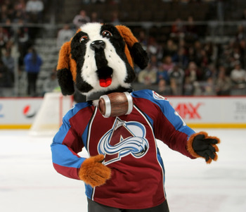 DENVER - OCTOBER 03:  Bernie, the mascot of the Colorado Avalanche, makes his debut during the first intermission against the Vancouver Canucks during NHL action at the Pepsi Center on October 3, 2009 in Denver, Colorado.  (Photo by Doug Pensinger/Getty I