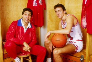18 Jan 1988:  Vinnie Del Negro of the North Carolina State Wolfpack poses with coach Jim Valvano at Reynolds Coliseum in Raleigh, North Carolina. Mandatory Credit: Allsport  /Allsport