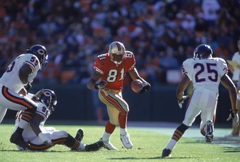 17 Dec 2000:  Terrell Owens #81 of the San Francisco 49ers runs with the ball after making one of his record breaking 20 catches during the game against the Chicago Bears at 3Com Park in San Francisco, California. The 49ers defeated the Bears 17-0. Mandat