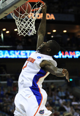 NEW ORLEANS, LA - MARCH 26:  Kenny Boynton #1 of the Florida Gators dunks against the Butler Bulldogs during the Southeast regional final of the 2011 NCAA men's basketball tournament at New Orleans Arena on March 26, 2011 in New Orleans, Louisiana.  (Phot
