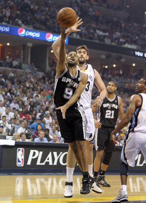 MEMPHIS, TN - APRIL 25: Tony Parker #9 of the San Antonio Spurs shoots the ball during the game against the Memphis Grizzlies in Game Four of the Western Conference Quarterfinals in the 2011 NBA Playoffs at FedExForum on April 25, 2011 in Memphis, Tenness